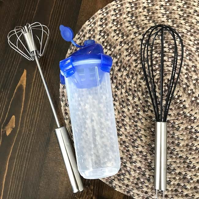 Plunger whisk, shaker bottle, and wire whisk