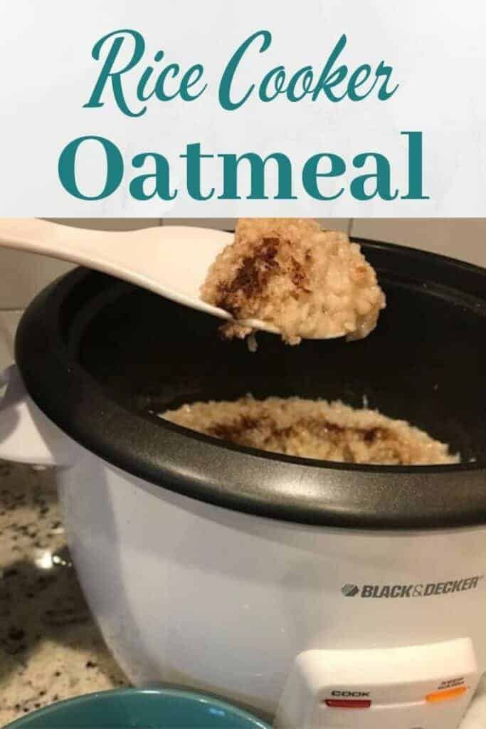 Scoop of rice cooker oatmeal