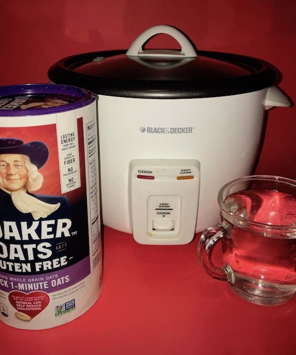 Oatmeal, rice cooker, and water.