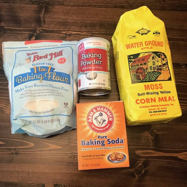 Flour, cornmeal, baking powder, and baking soda