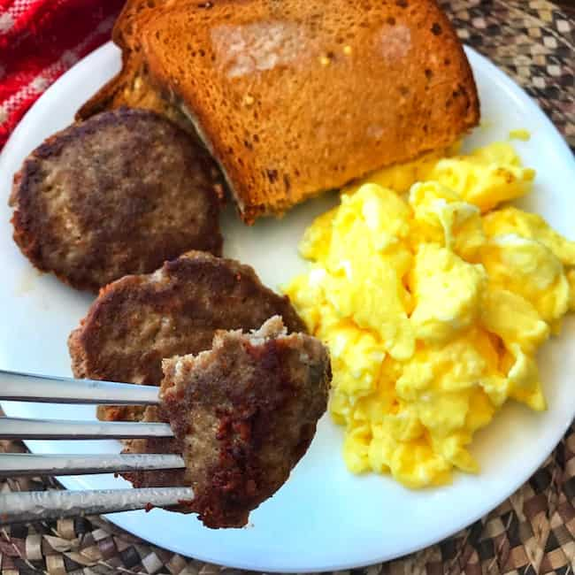 Turkey sausage, scrambled eggs, and toast