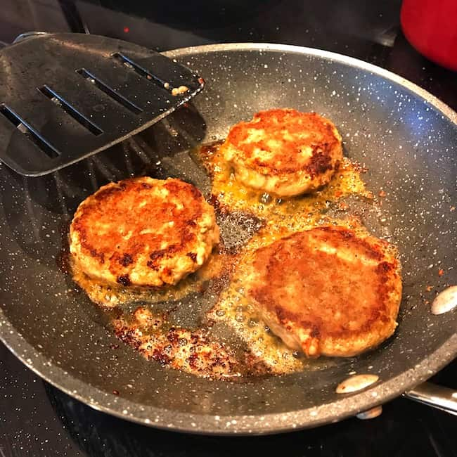 Cooked patties in a pan