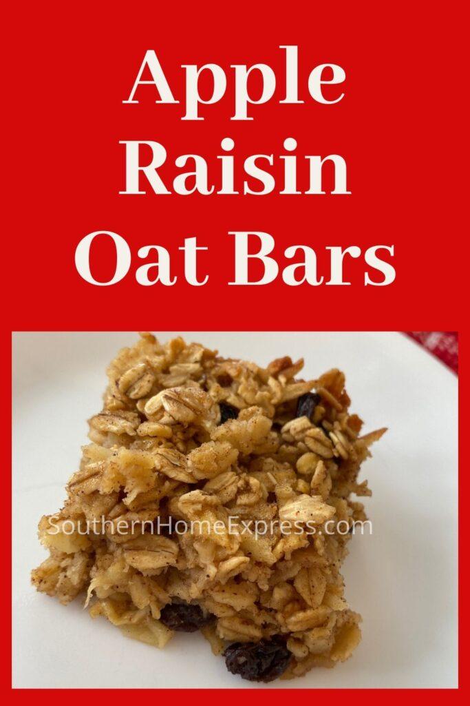 Apple raisin oat bar on a white plate