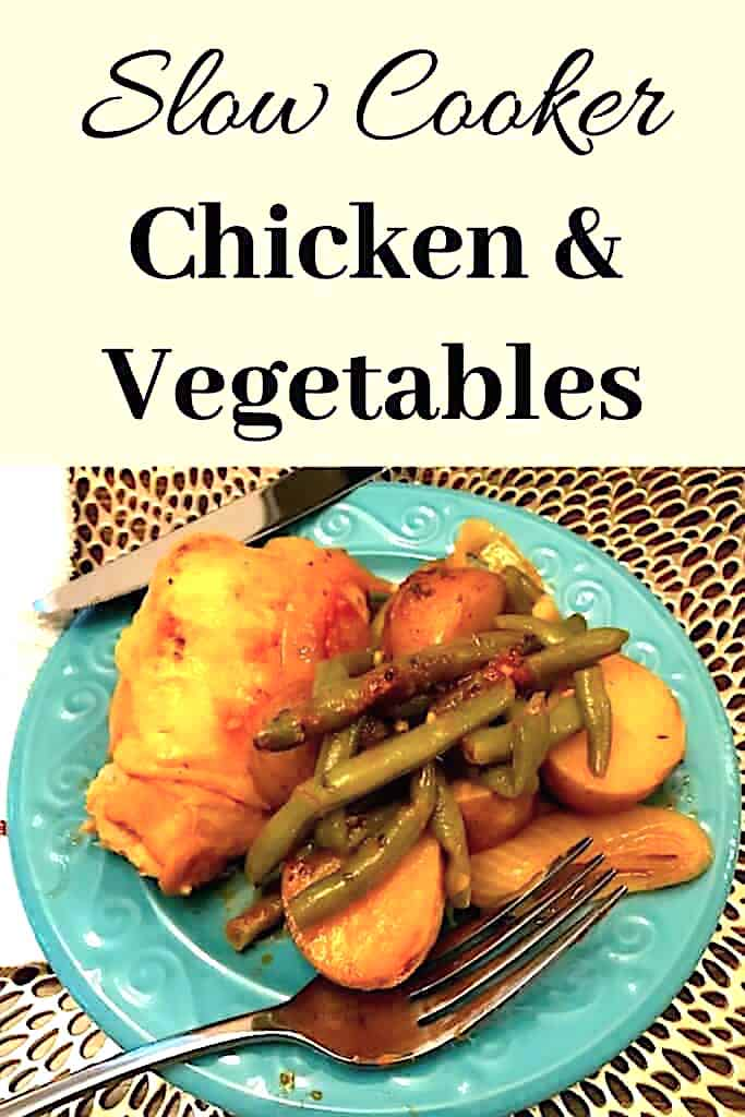Slow cooker chicken and vegetable dinner on a plate