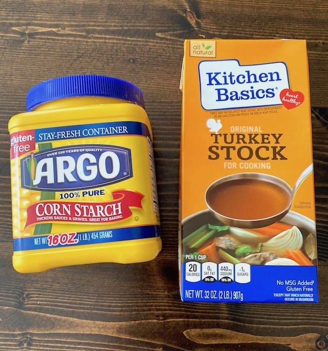 Corn starch and turkey stock