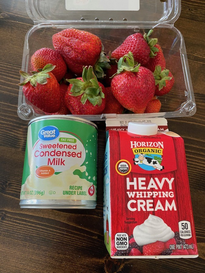 Strawberries, sweetened condensed milk, and heavy whipping cream