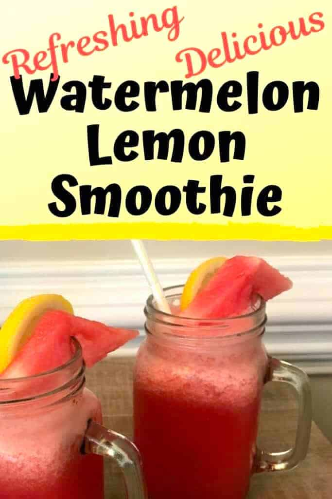 2 mason jars filled with smoothies and topped with lemon and watermelon wedges