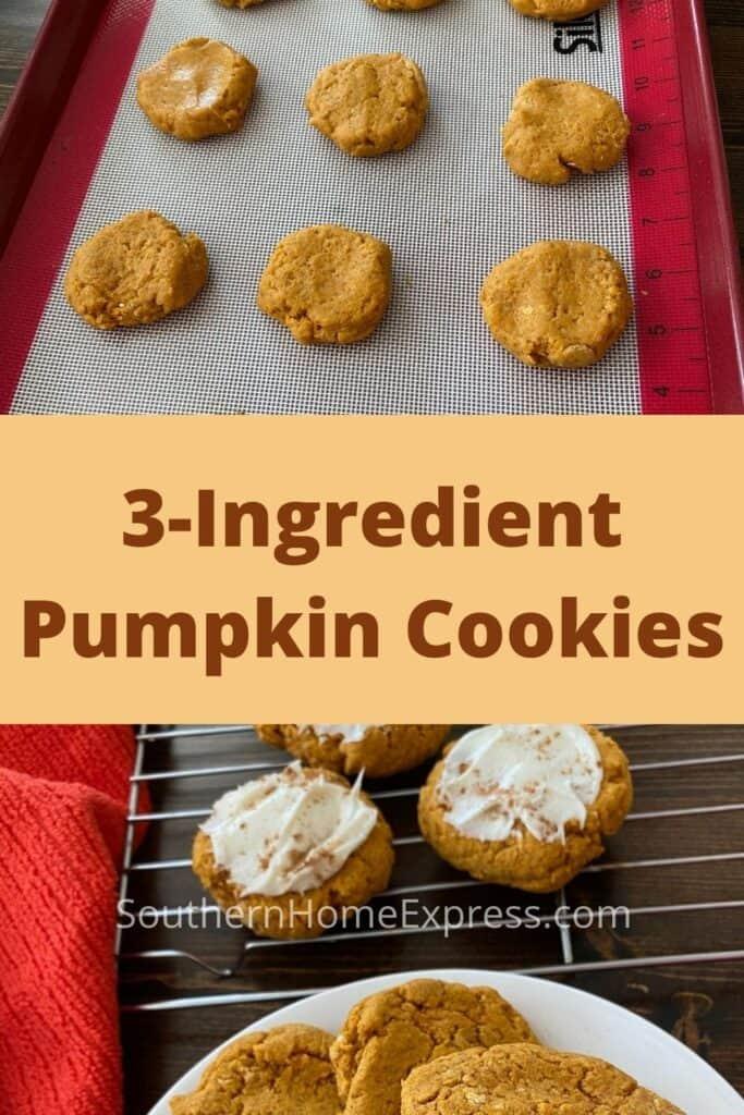Platter of 3-ingredient pumpkin cookies beneath cookie dough on a baking sheet