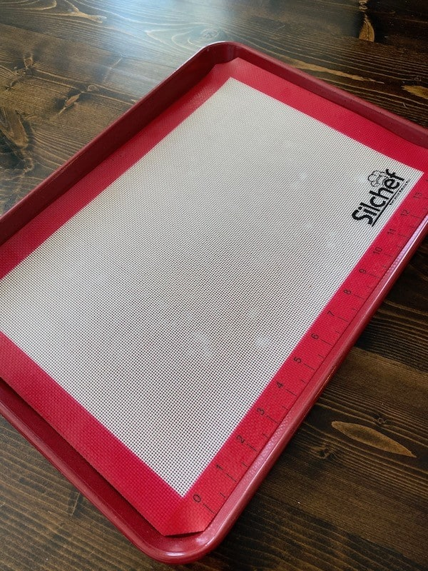 Silicone mat on a baking sheet