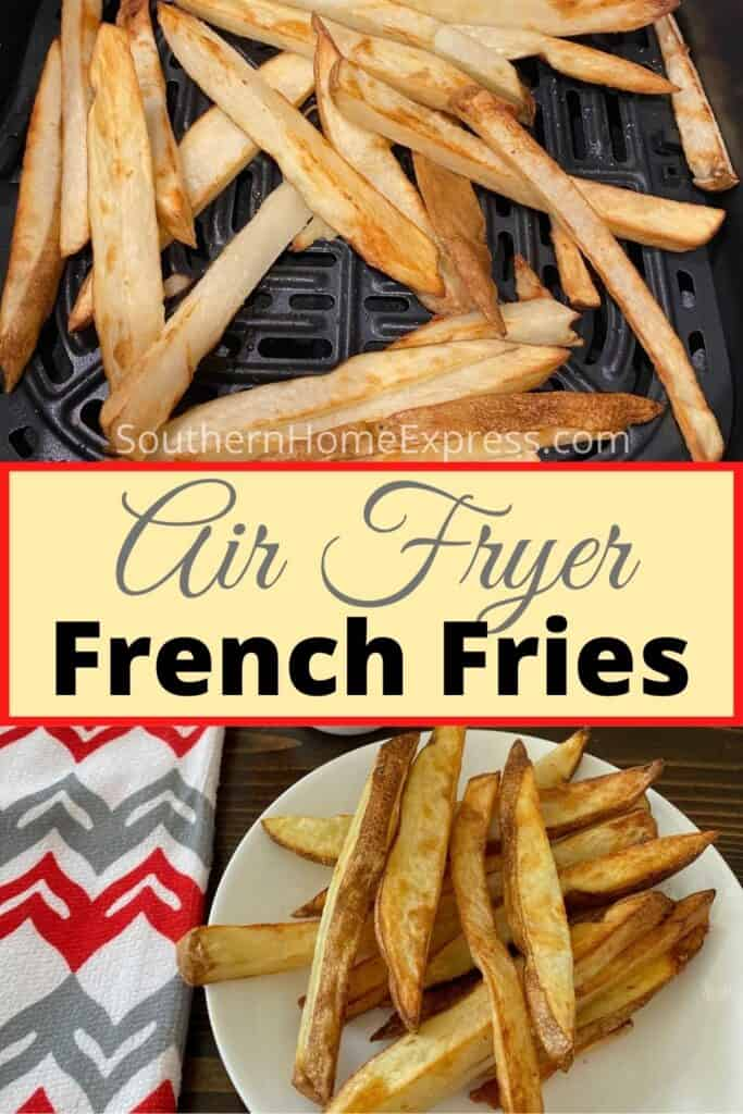 Fries in an air fryer basket and on a plate