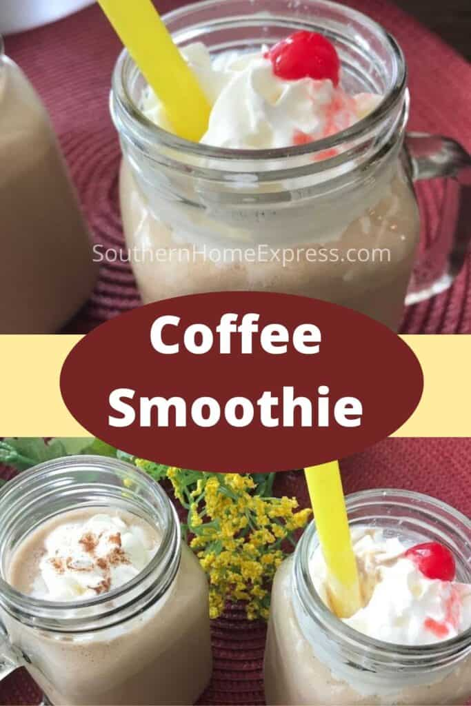 Coffee smoothies on mason jar mugs