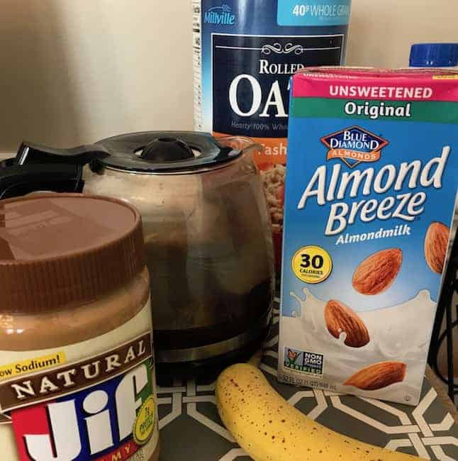Coffee, peanut butter, oats, banana, and almond milk