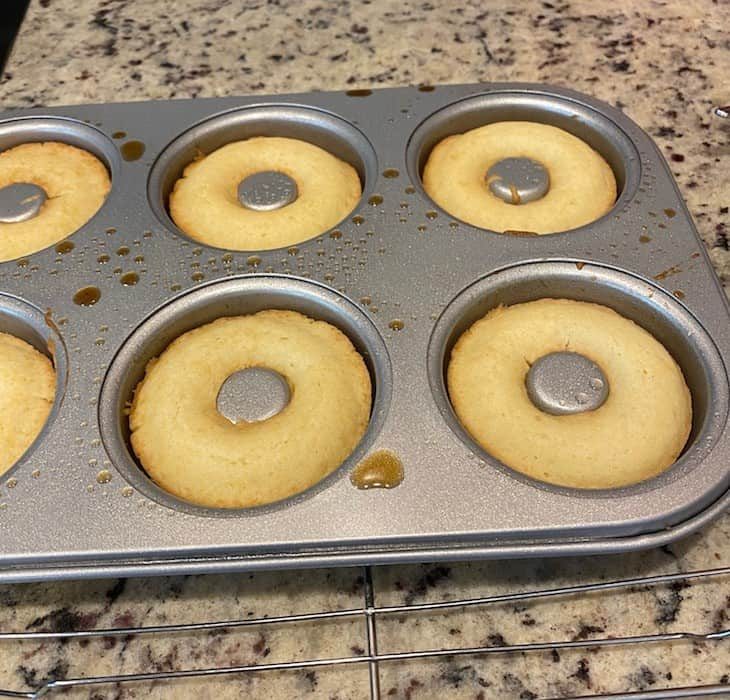 Baked donuts still in the pan