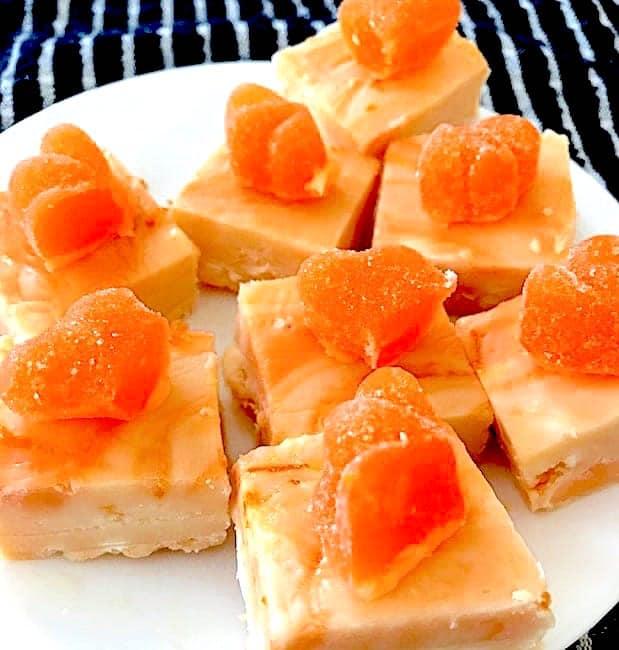 Orange fudge on a plate