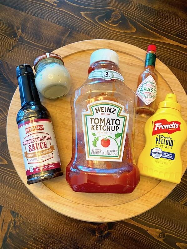 Worcestershire sauce, horseradish, ketchup, tabasco, and mustard