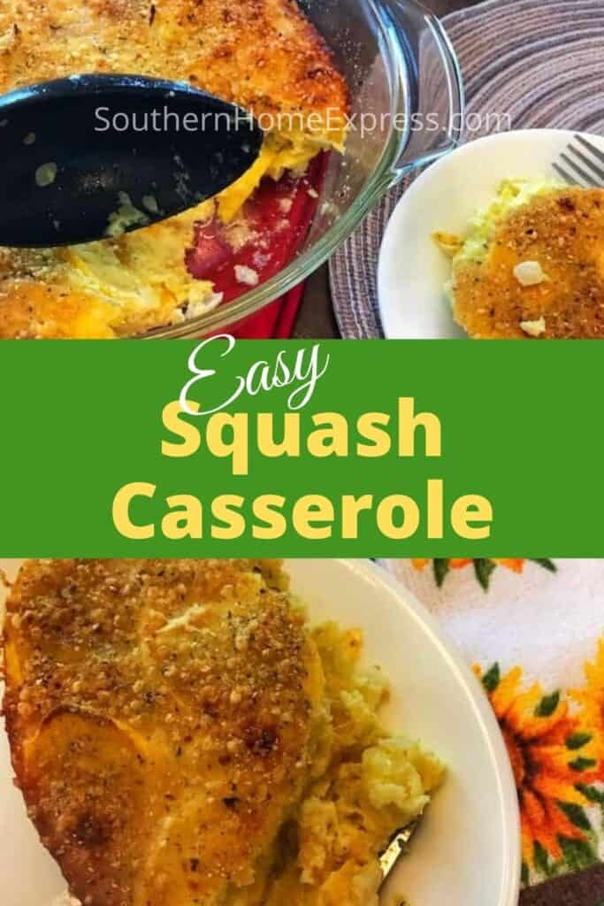 Serving of squash casserole