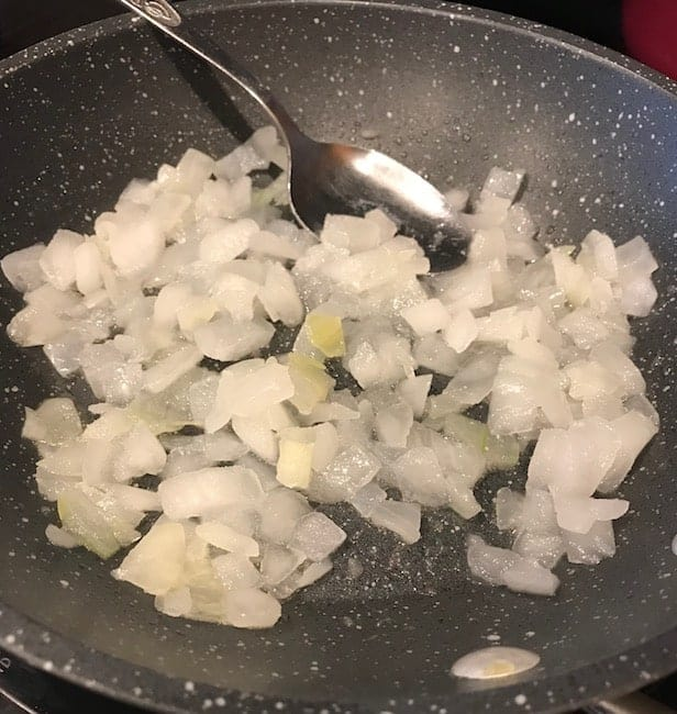 Sautéing onions in a small skillet