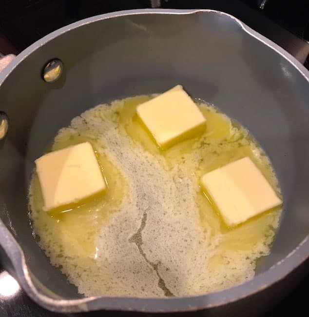 Melting butter in a small saucepan