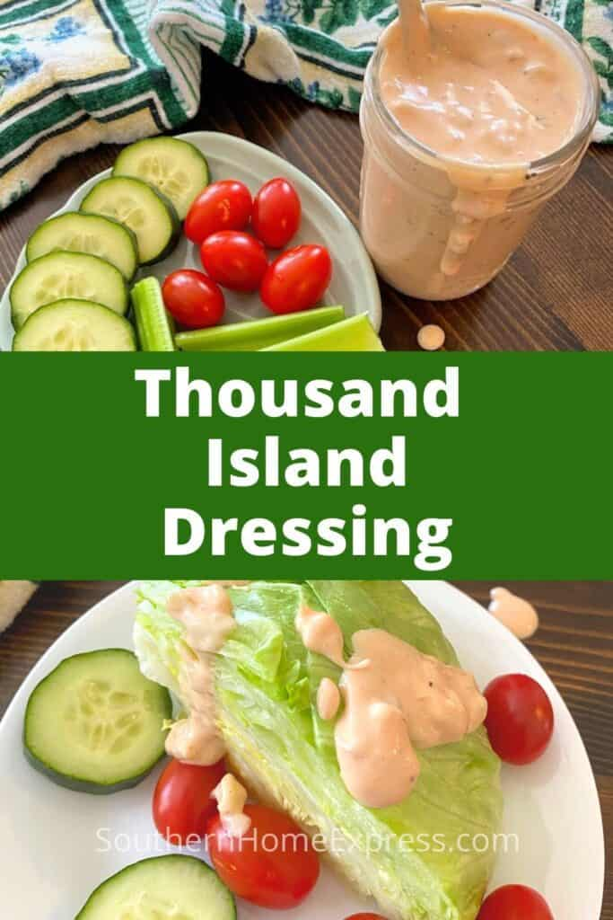 Thousand Island salad dressing beside a plate of vegetables and on top of a wedge of lettuce