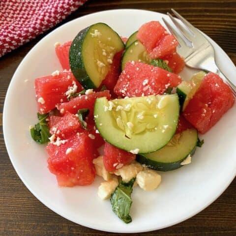 Watermelon cucumber salad on a plate