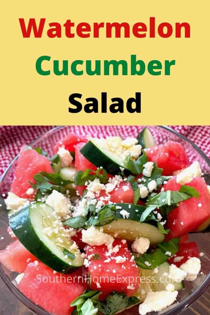 Watermelon cucumber salad with crumbled feta cheese and chopped basil