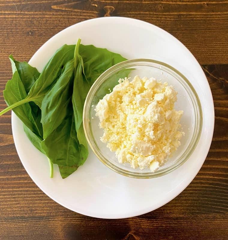 Fresh basil and feta cheese