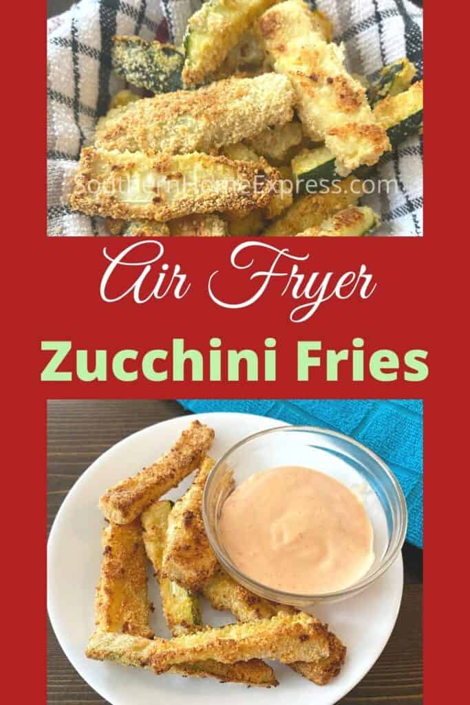 Plate of zucchini fries with a side bowl of dip