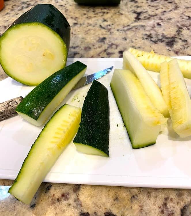 Cutting zucchini into strips