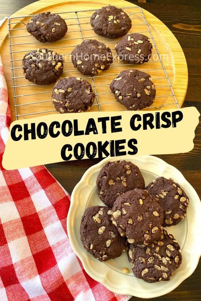 Chocolate crisp cookies on a cooling rack and on a plate