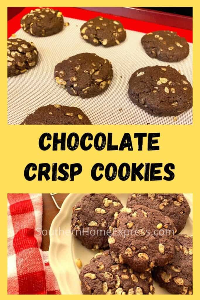Baked chocolate crisp cookies on a pan and on a plate