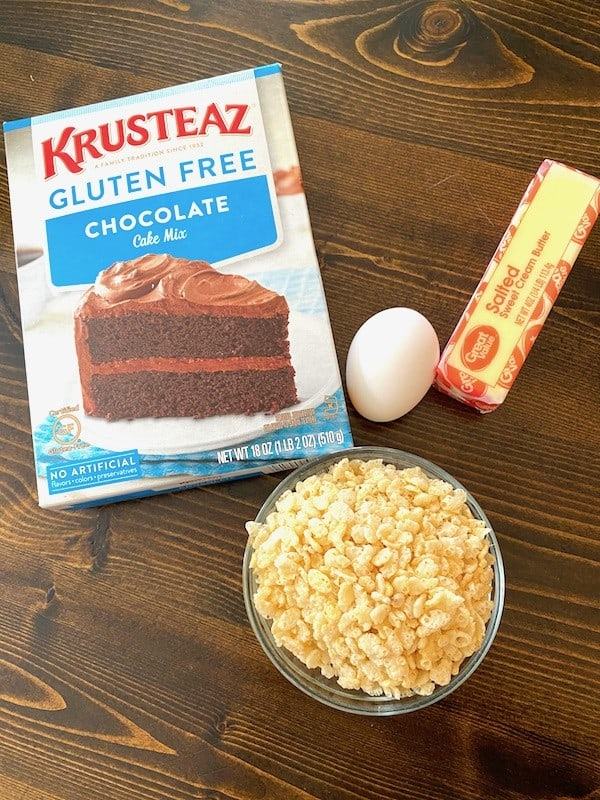 Chocolate cake mix, egg, butter, and crisped rice cereal