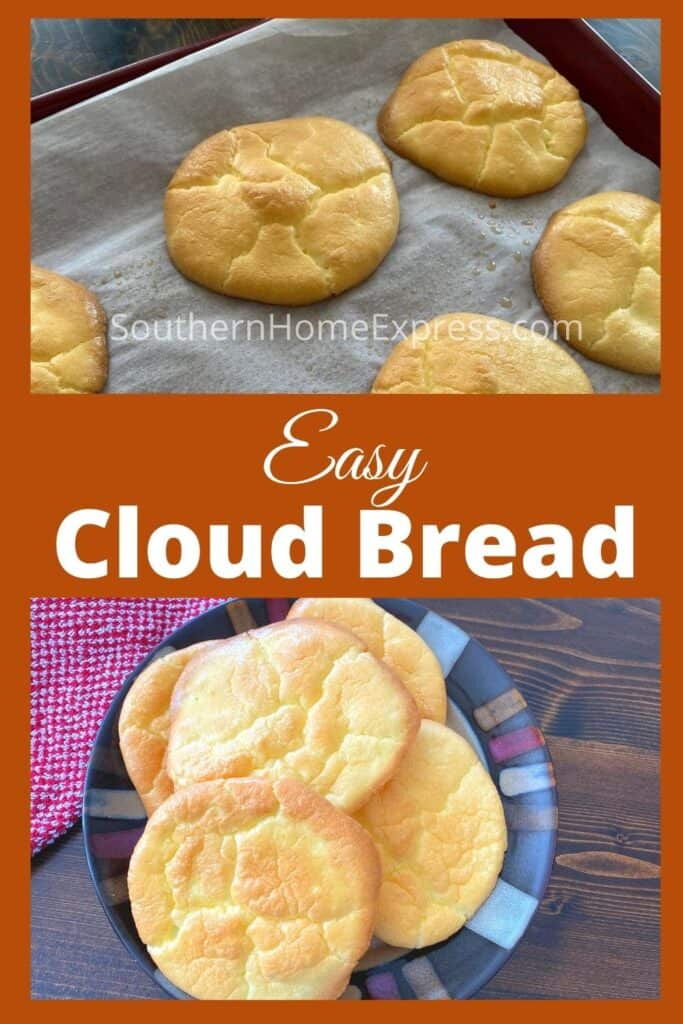 Pan of cloud bread above a plate of cloud bread