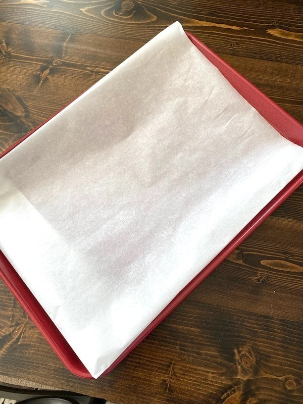 Parchment paper on a baking sheet