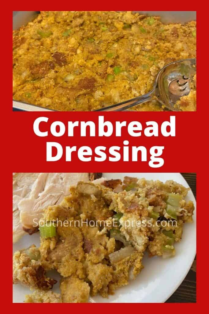 Pan of cornbread dressing over dressing on a plate beside chicken