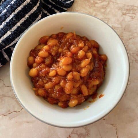 Bowl of pineapple baked beans