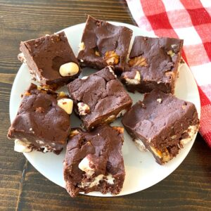 Plate of rocky road fudge