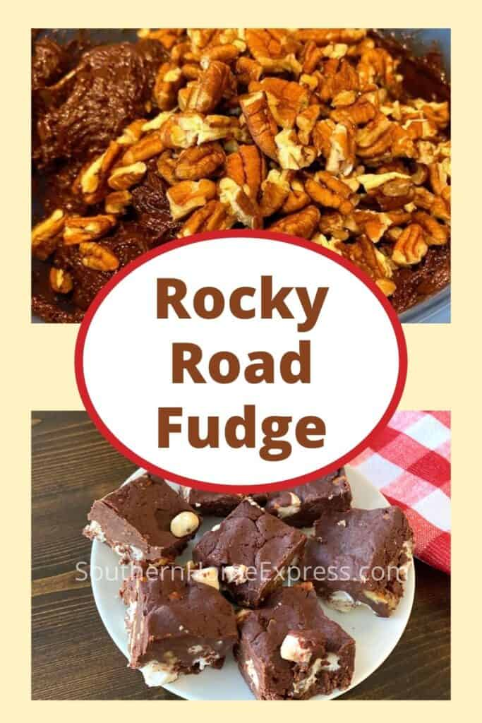 Bowl of nuts and fudge over a plate of rocky road fudge