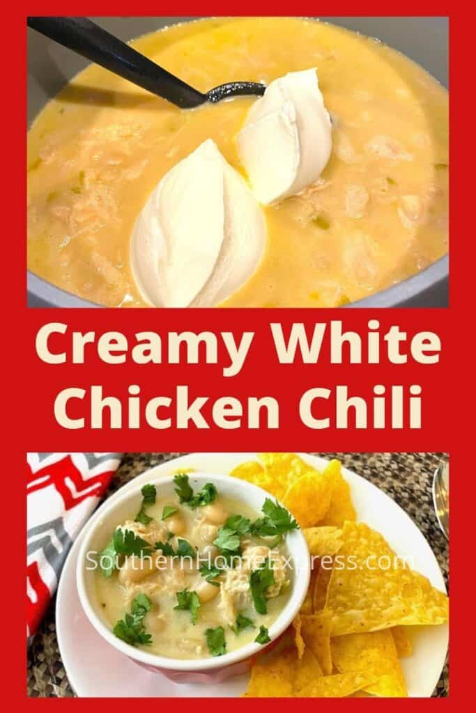 Pot of chicken chili with sour cream and bowl of white chicken chili on a plate with chips