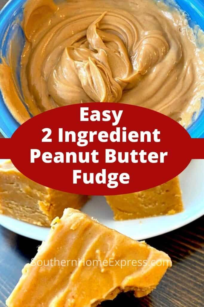 Peanut butter fudge batter in a bowl and slice fudge on a plate
