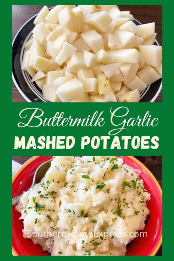 Diced potatoes in a bowl above a bowl of buttermilk garlic mashed potatoes
