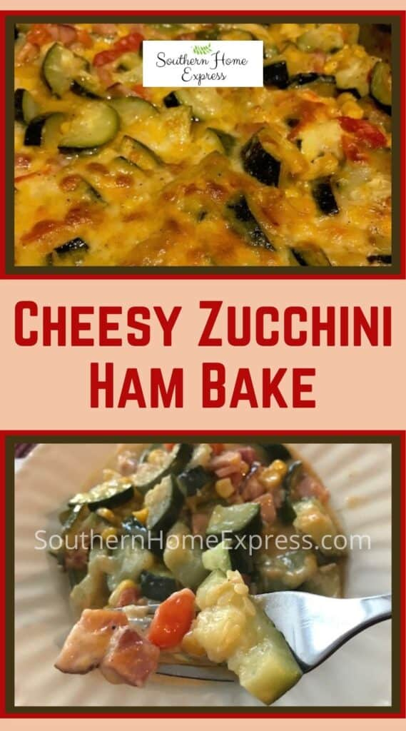 Baked cheesy zucchini and ham casserole in a pan and on a plate
