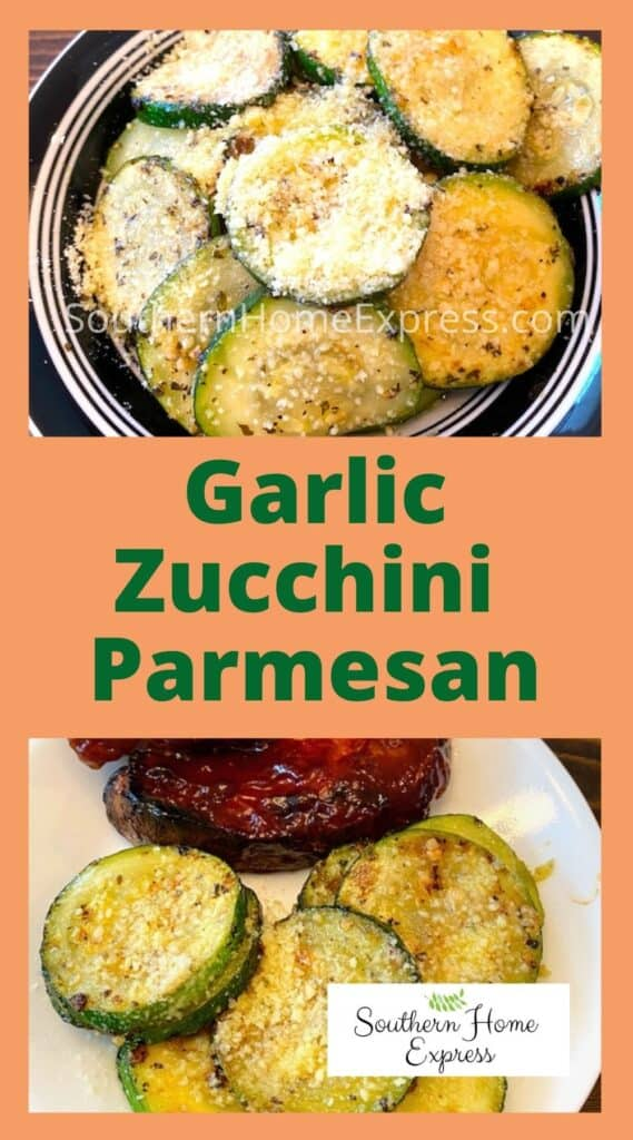 Garlic zucchini Parmesan in a bowl and on a plate