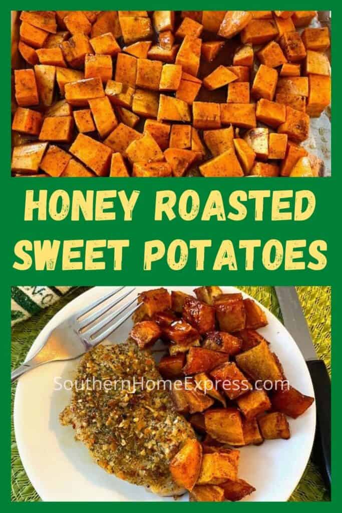 Plate of honey roasted sweet potatoes and a pork chop
