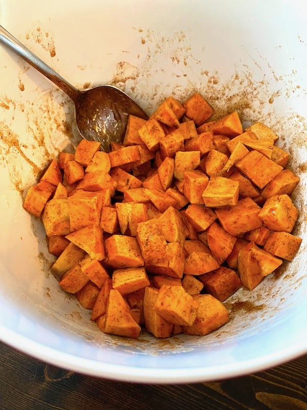 Coated sweet potato cubes