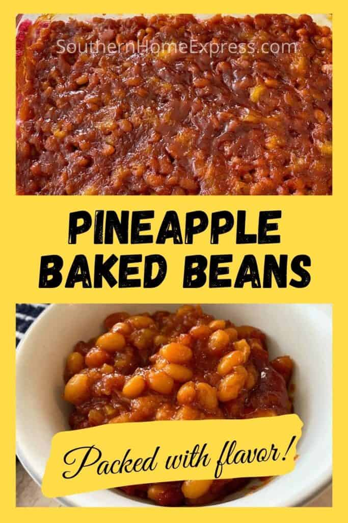 Baking pan and bowl of pineapple baked beans