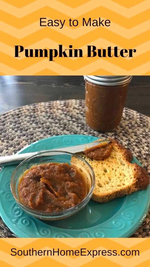 Jar of pumpkin butter beside a plate of toast and more pumpkin butter