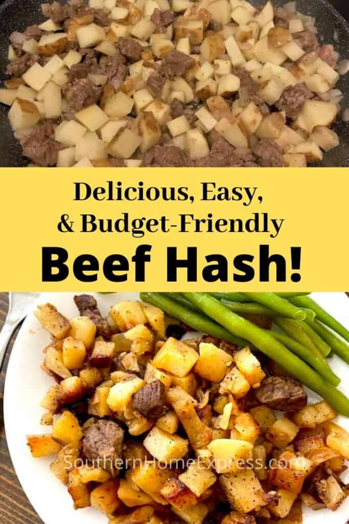 Beef hash with steak, onions, and potatoes in a skillet and on a plate with green beans