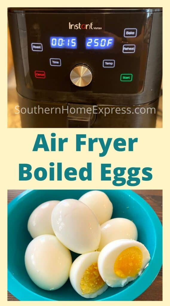 Air fryer and bowl of soft boiled eggs