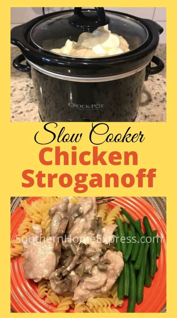 Chicken stroganoff in a Crock Pot and on a plate with green beans
