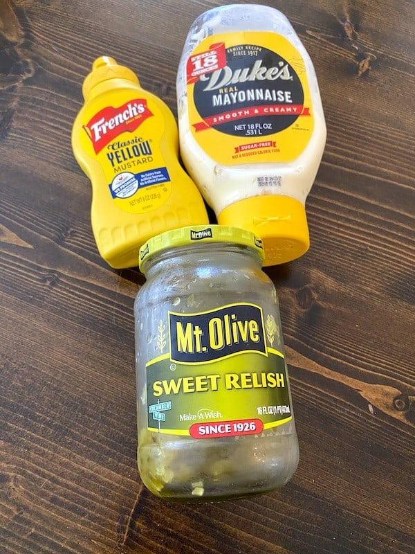 Mustard, mayonnaise, and sweet pickle relish